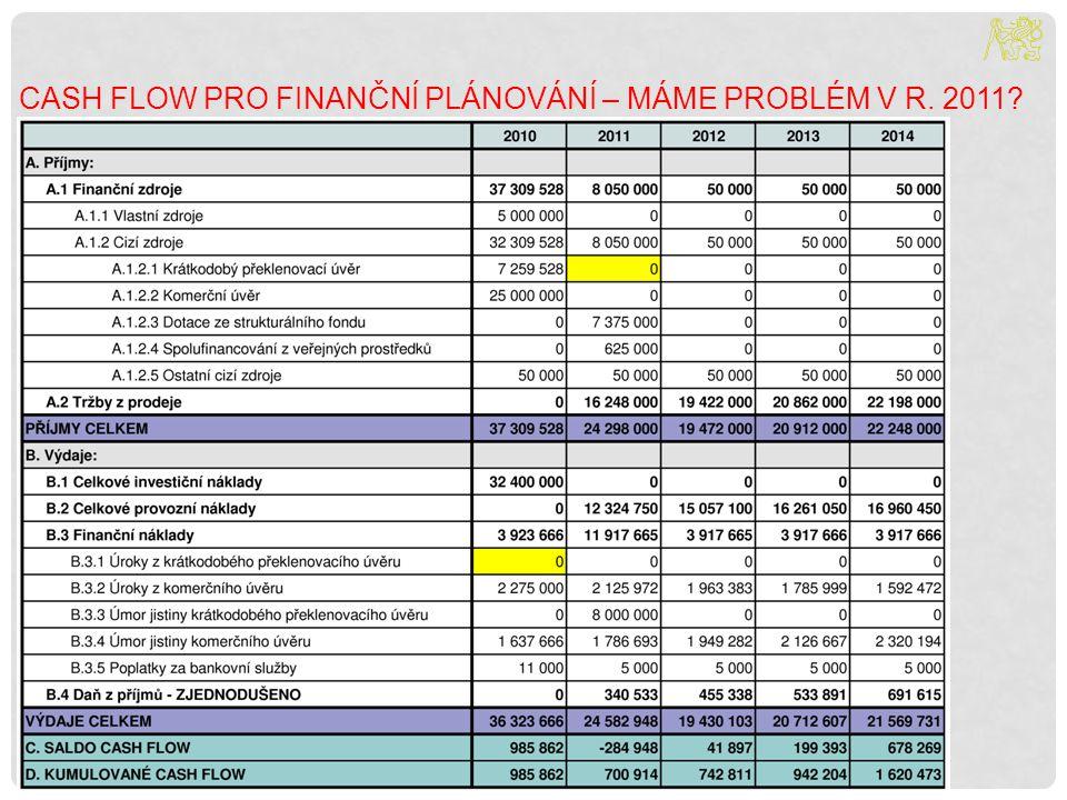 Cash flow pro finanční plánování – máme problém v r. 2011