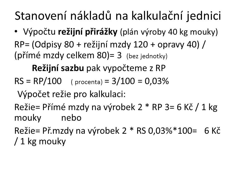 Stanovení nákladů na kalkulační jednici