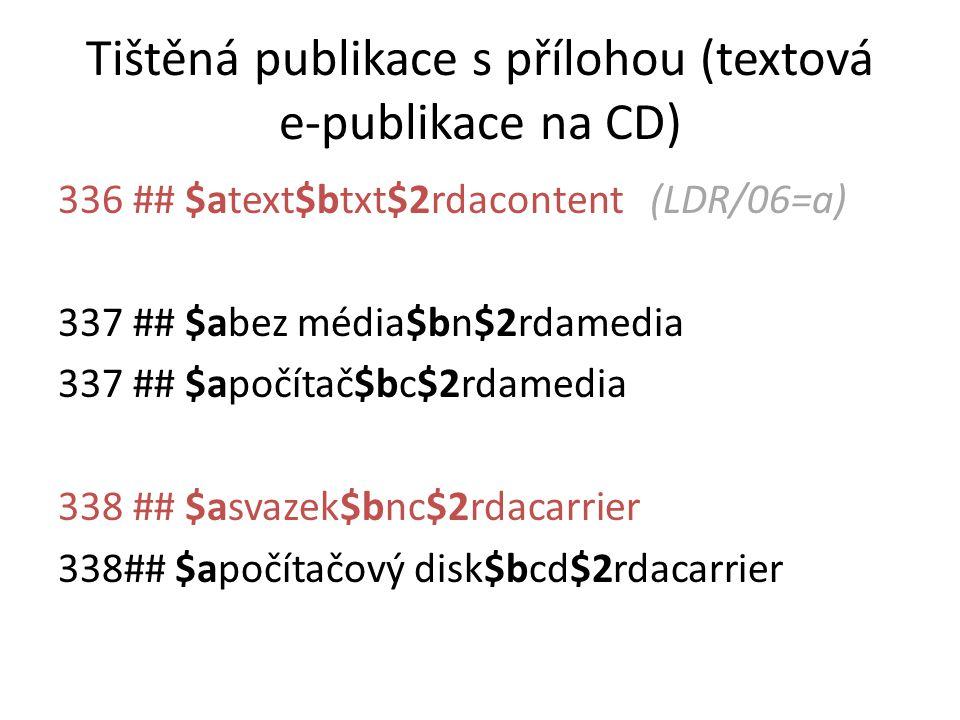 Tištěná publikace s přílohou (textová e-publikace na CD)
