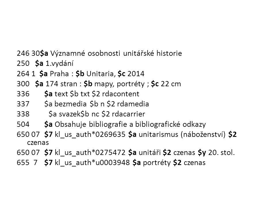 246 30$a Významné osobnosti unitářské historie 250 $a 1