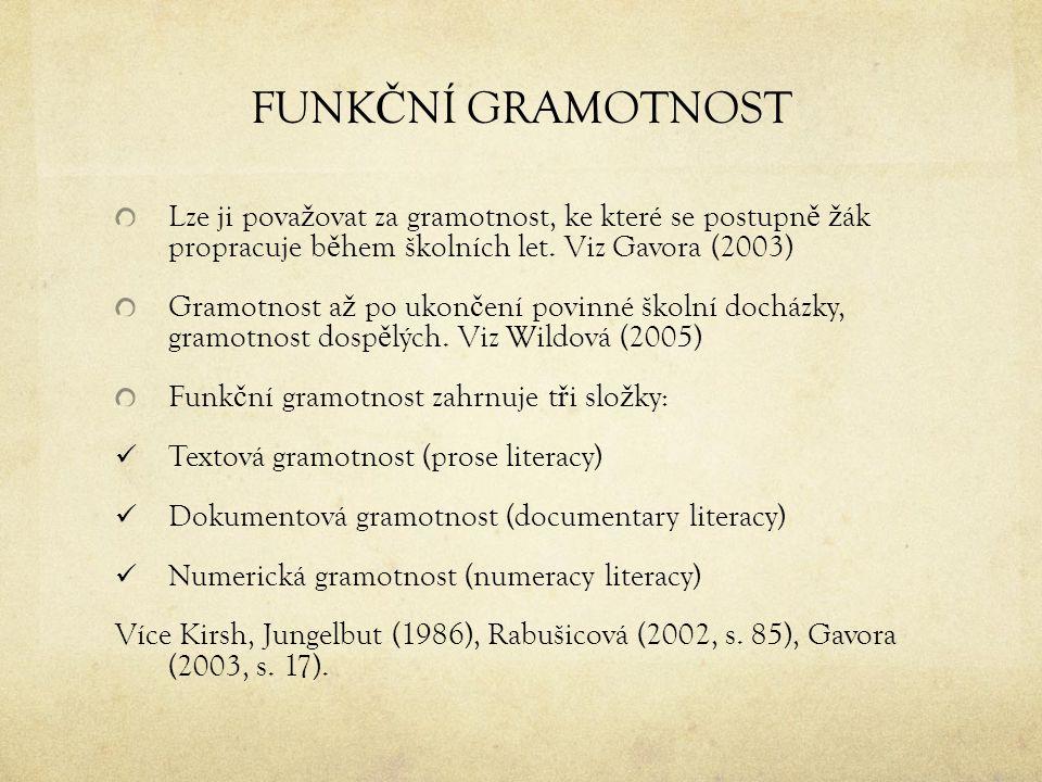 FUNKČNÍ GRAMOTNOST Lze ji považovat za gramotnost, ke které se postupně žák propracuje během školních let. Viz Gavora (2003)