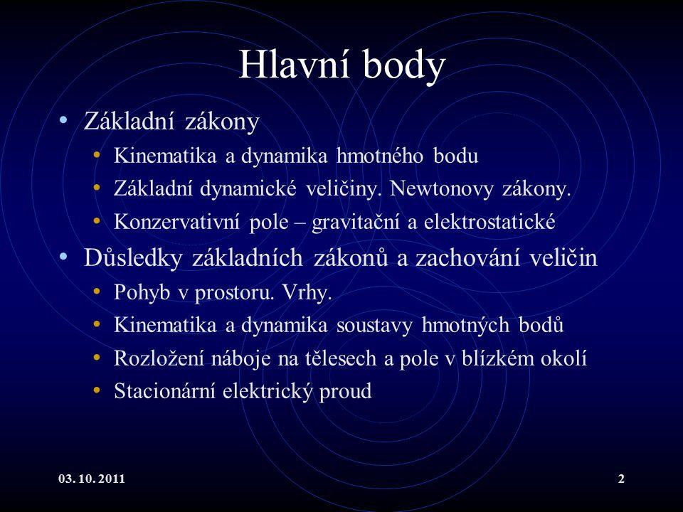 Hlavní body Základní zákony