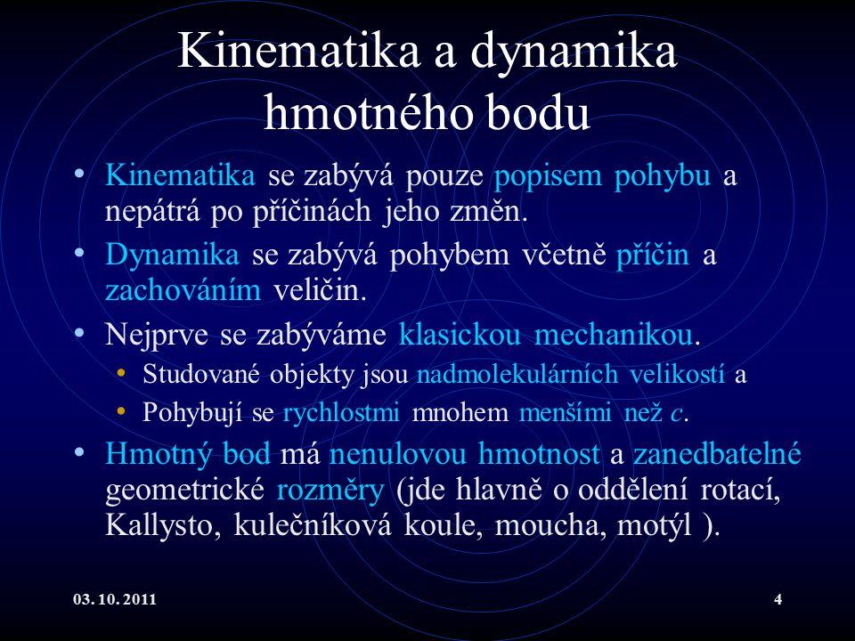 Kinematika a dynamika hmotného bodu