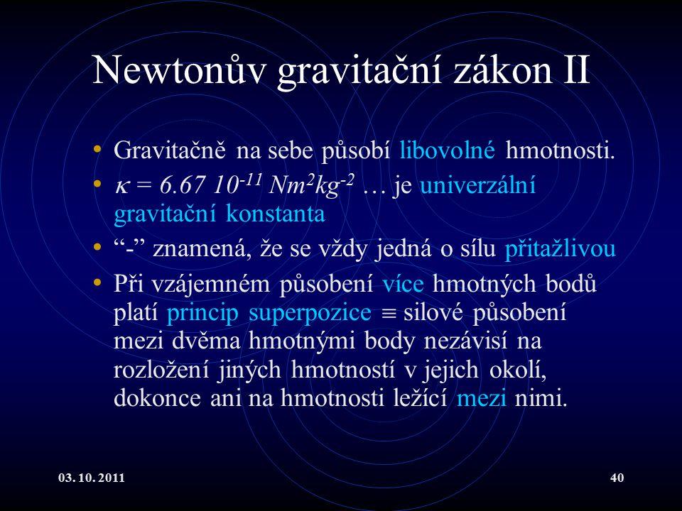 Newtonův gravitační zákon II