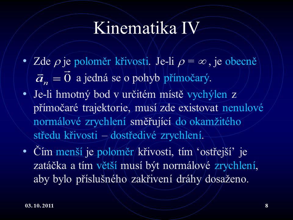 Kinematika IV Zde  je poloměr křivosti. Je-li  =  , je obecně