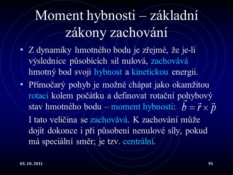 Moment hybnosti – základní zákony zachování