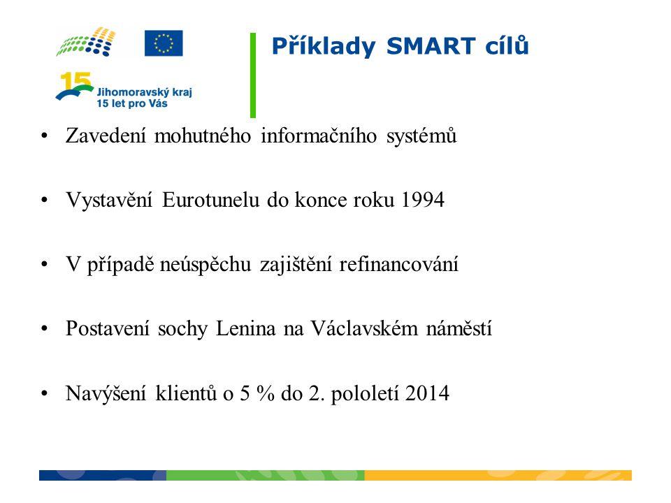 Příklady SMART cílů Zavedení mohutného informačního systémů