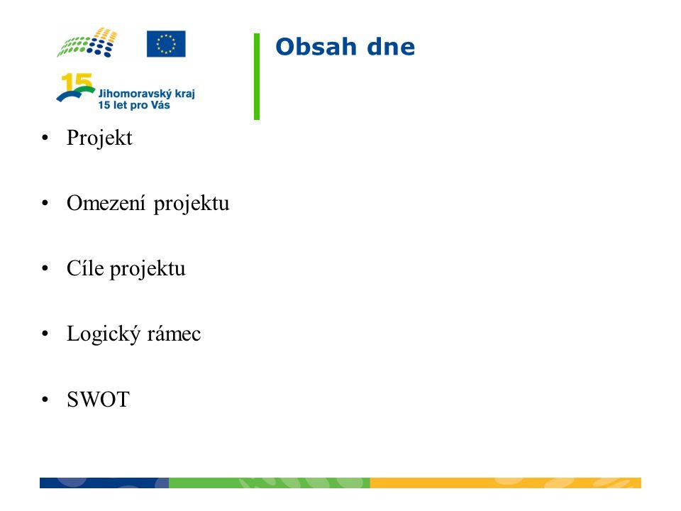 Obsah dne Projekt Omezení projektu Cíle projektu Logický rámec SWOT
