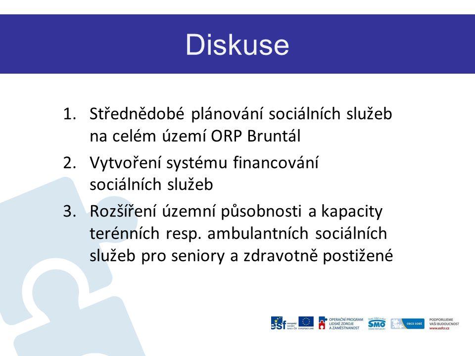 Diskuse Střednědobé plánování sociálních služeb na celém území ORP Bruntál. Vytvoření systému financování sociálních služeb.