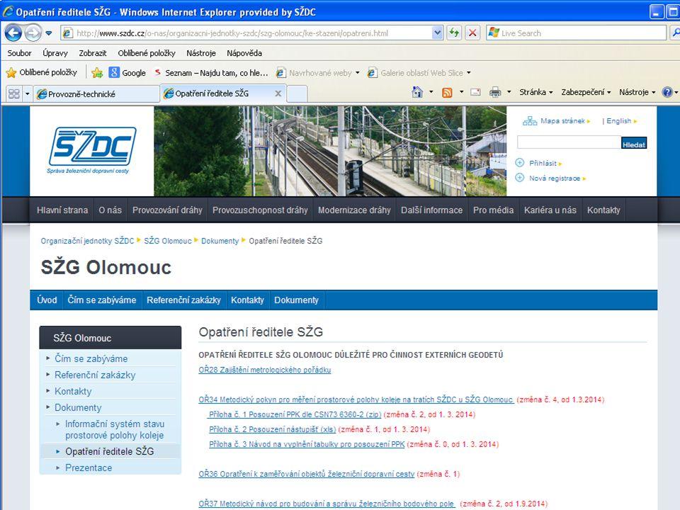 Závazné předpisy pro geodézii na tratích SŽDC