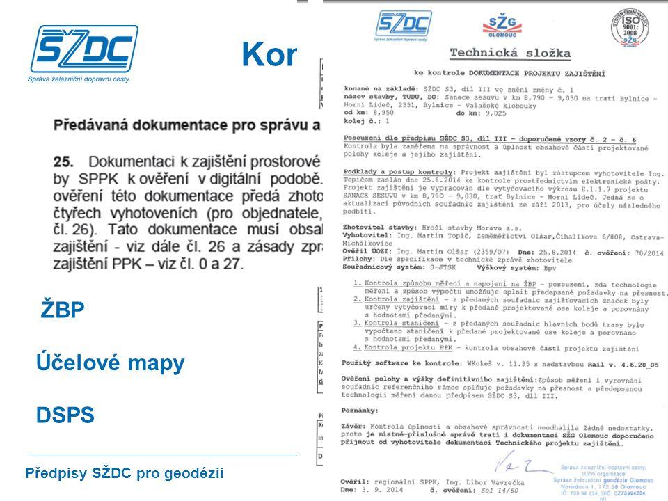Kontrola PPK Projekt ŽBP Účelové mapy DSPS Předpisy SŽDC pro geodézii