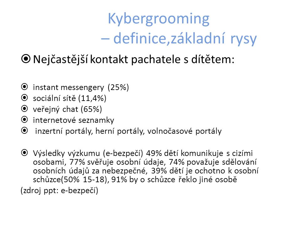 Kybergrooming – definice,základní rysy