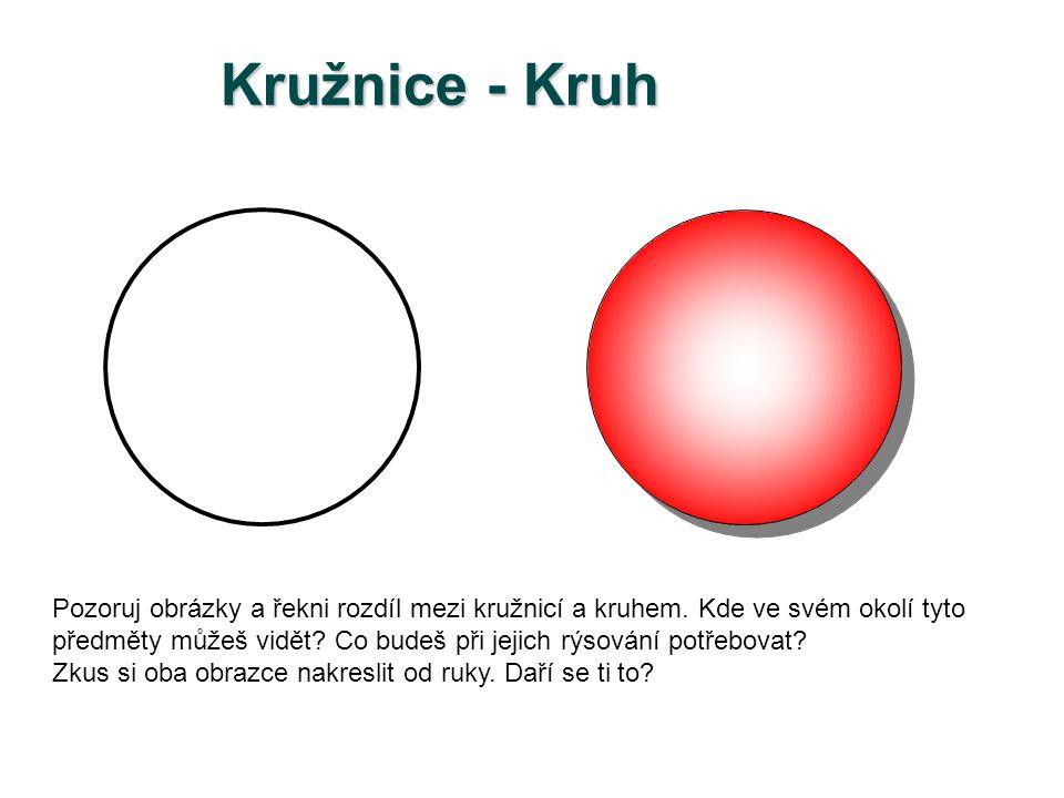 Kružnice - Kruh Pozoruj obrázky a řekni rozdíl mezi kružnicí a kruhem. Kde ve svém okolí tyto.