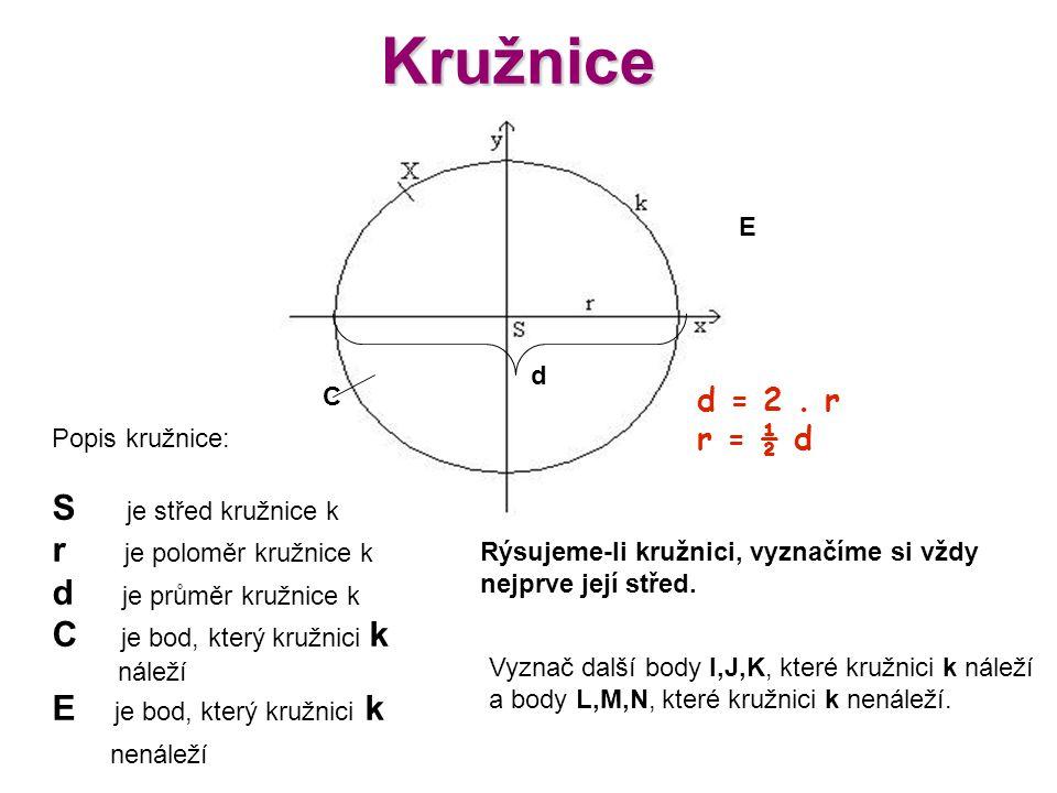Kružnice S je střed kružnice k r je poloměr kružnice k