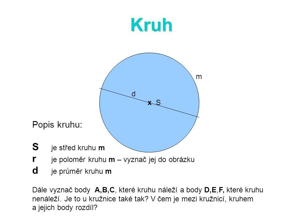 Kruh S je střed kruhu m r je poloměr kruhu m – vyznač jej do obrázku
