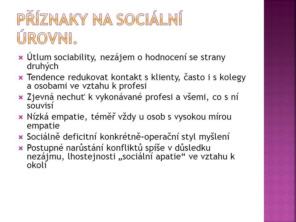 Příznaky na sociální úrovni.