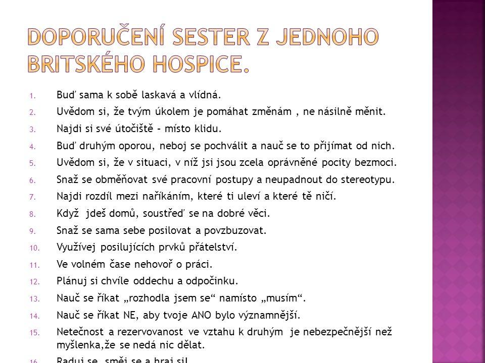 Doporučení sester z jednoho britského hospice.