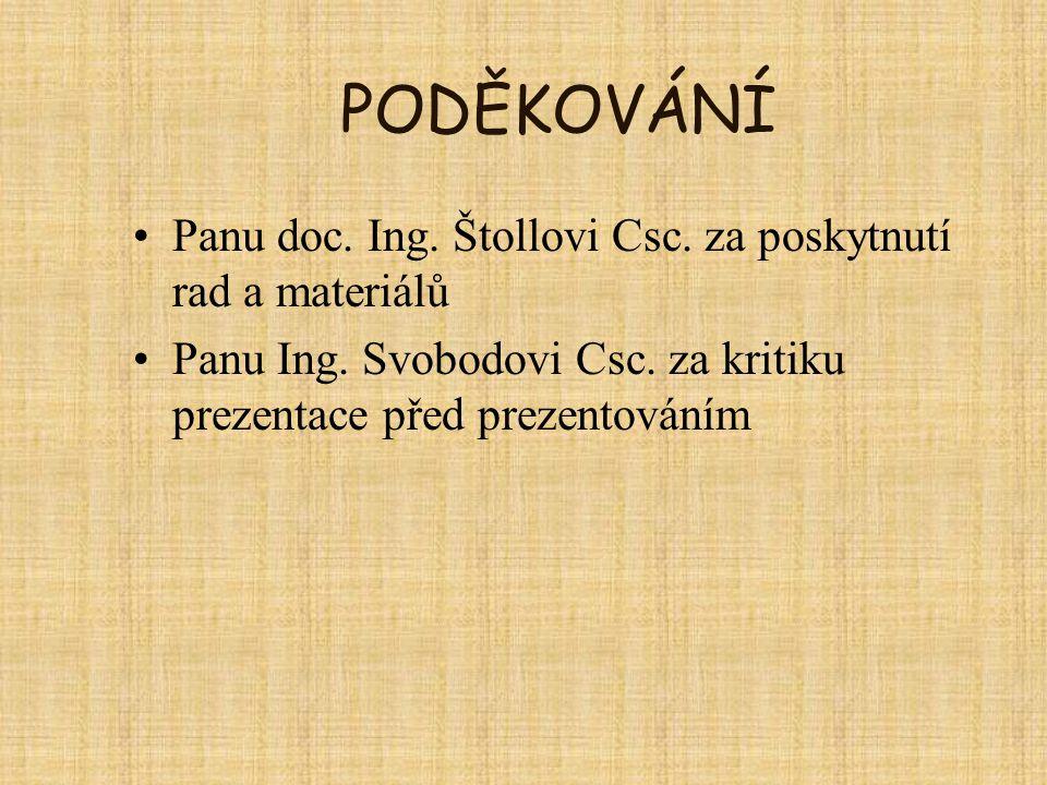PODĚKOVÁNÍ Panu doc. Ing. Štollovi Csc. za poskytnutí rad a materiálů