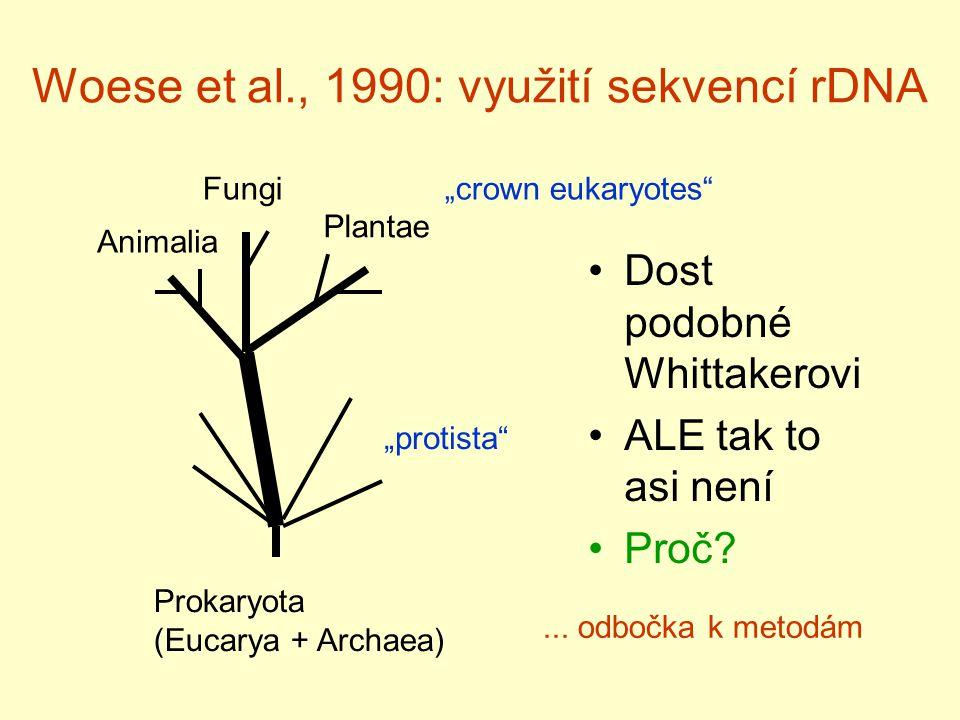 Woese et al., 1990: využití sekvencí rDNA