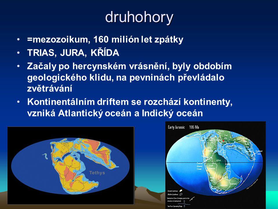 druhohory =mezozoikum, 160 milión let zpátky TRIAS, JURA, KŘÍDA