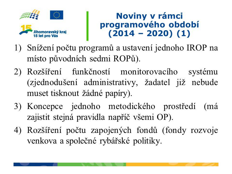 Noviny v rámci programového období (2014 – 2020) (1)