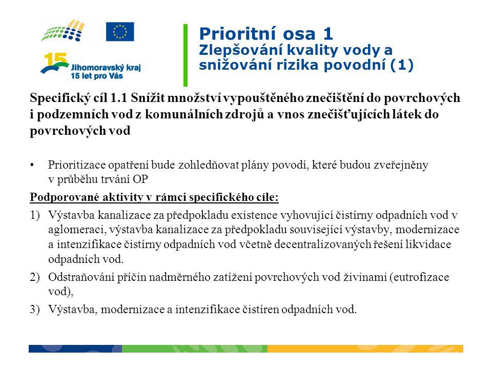 Prioritní osa 1 Zlepšování kvality vody a snižování rizika povodní (1)