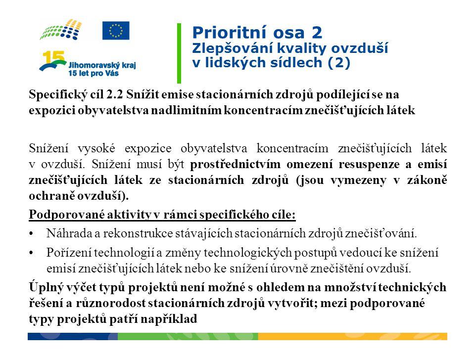 Prioritní osa 2 Zlepšování kvality ovzduší v lidských sídlech (2)