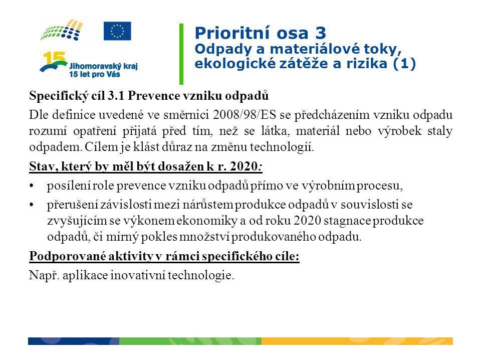 Prioritní osa 3 Odpady a materiálové toky, ekologické zátěže a rizika (1)