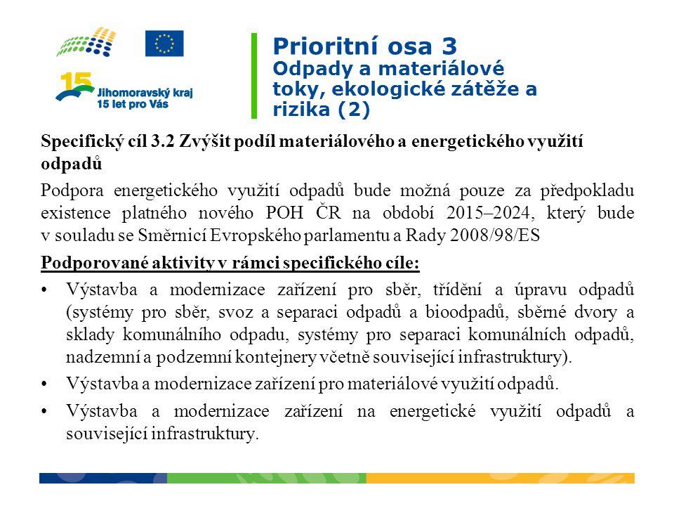 Prioritní osa 3 Odpady a materiálové toky, ekologické zátěže a rizika (2)