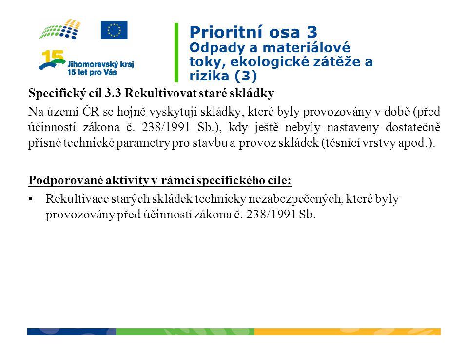 Prioritní osa 3 Odpady a materiálové toky, ekologické zátěže a rizika (3)