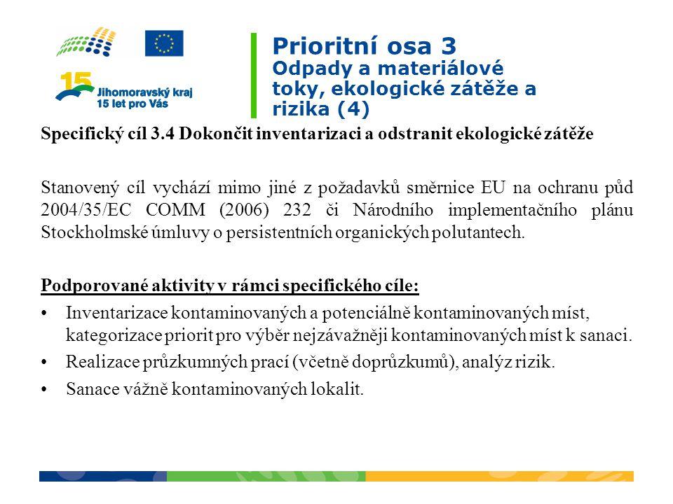 Prioritní osa 3 Odpady a materiálové toky, ekologické zátěže a rizika (4)