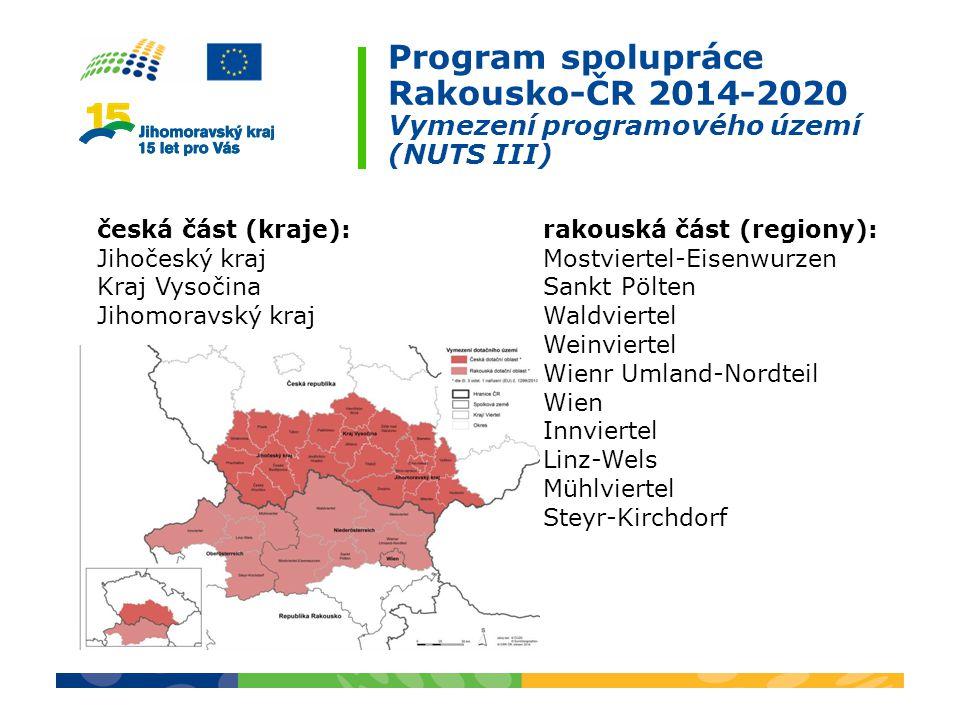 Program spolupráce Rakousko-ČR 2014-2020 Vymezení programového území (NUTS III)
