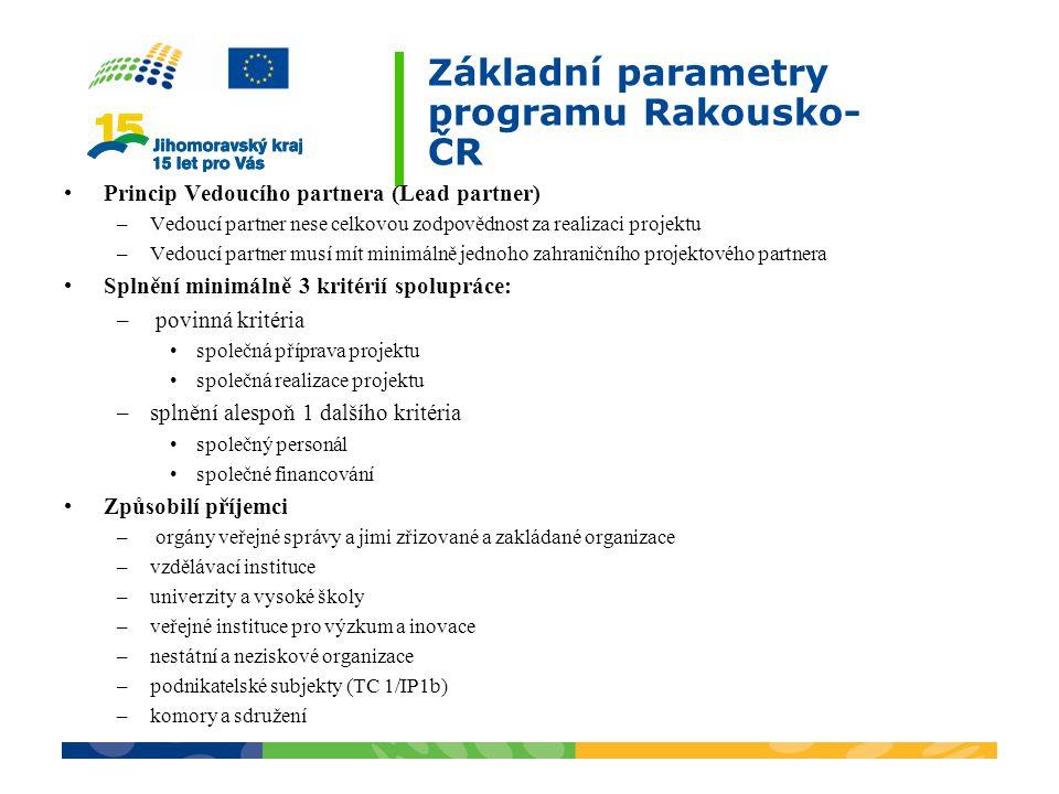 Základní parametry programu Rakousko-ČR