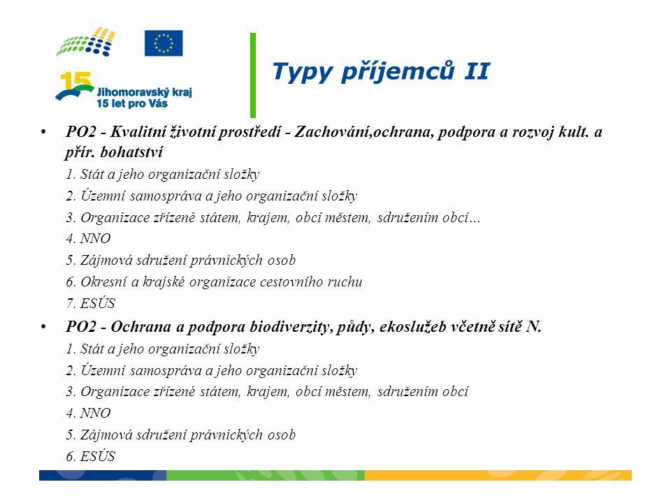 Typy příjemců II PO2 - Kvalitní životní prostředí - Zachování,ochrana, podpora a rozvoj kult. a přír. bohatství.