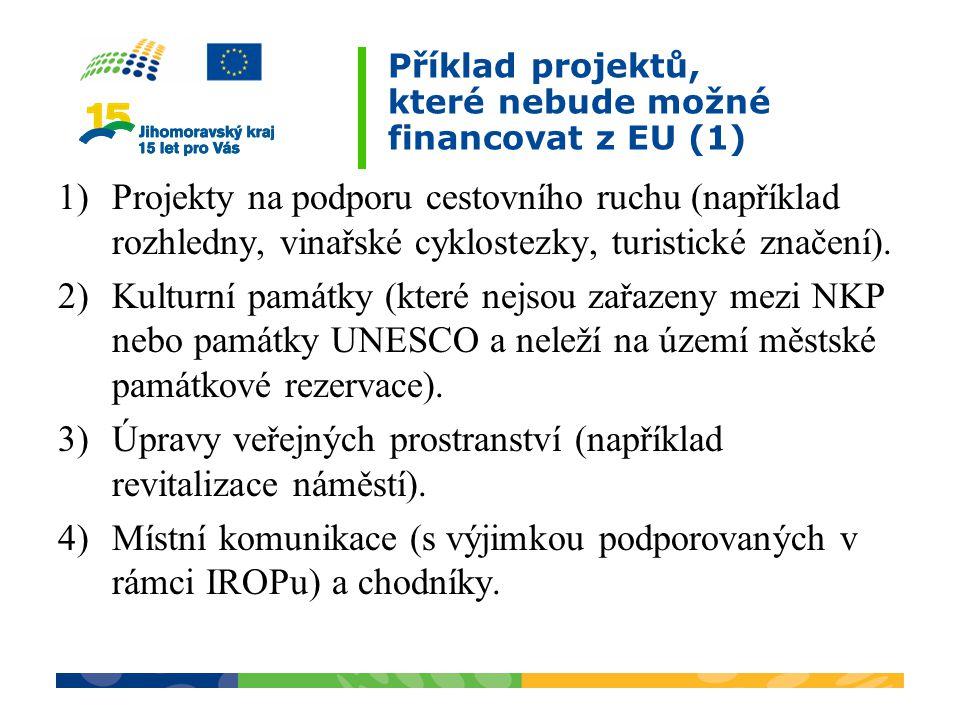 Příklad projektů, které nebude možné financovat z EU (1)