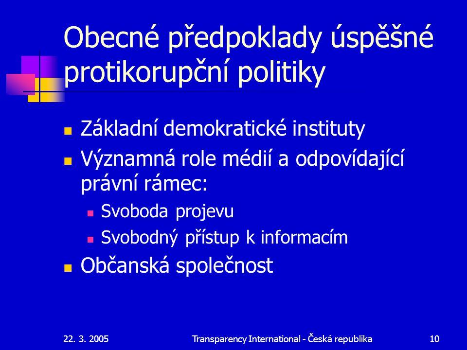 Obecné předpoklady úspěšné protikorupční politiky