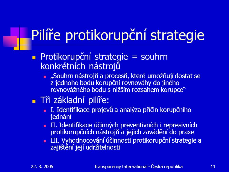 Pilíře protikorupční strategie
