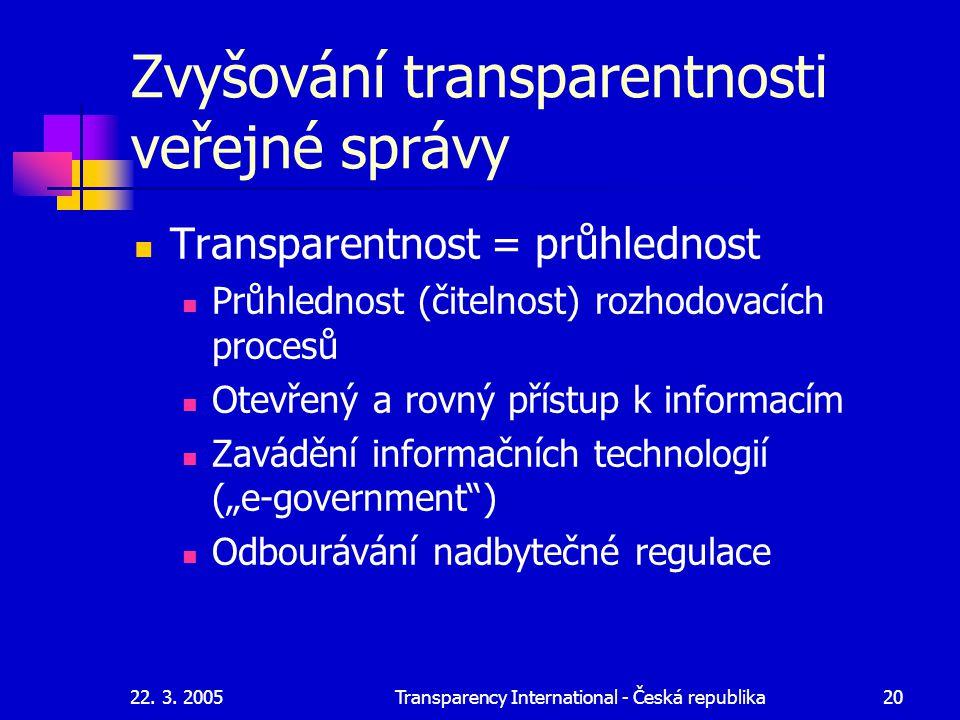 Zvyšování transparentnosti veřejné správy