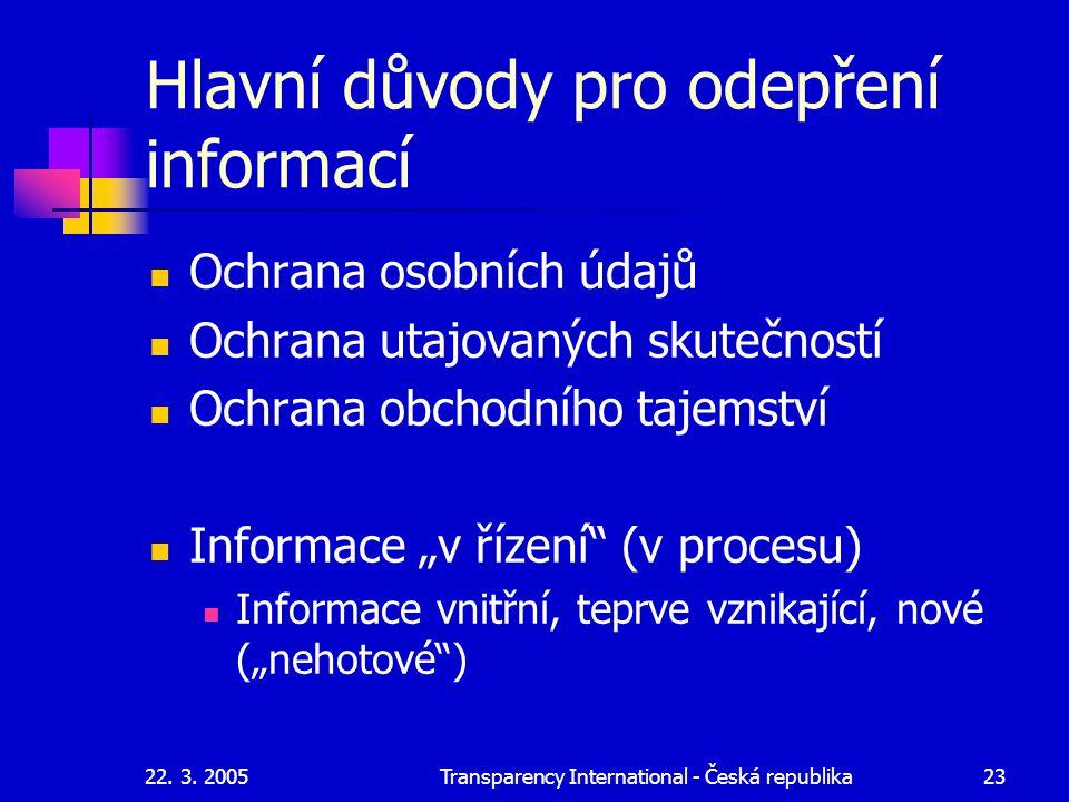 Hlavní důvody pro odepření informací