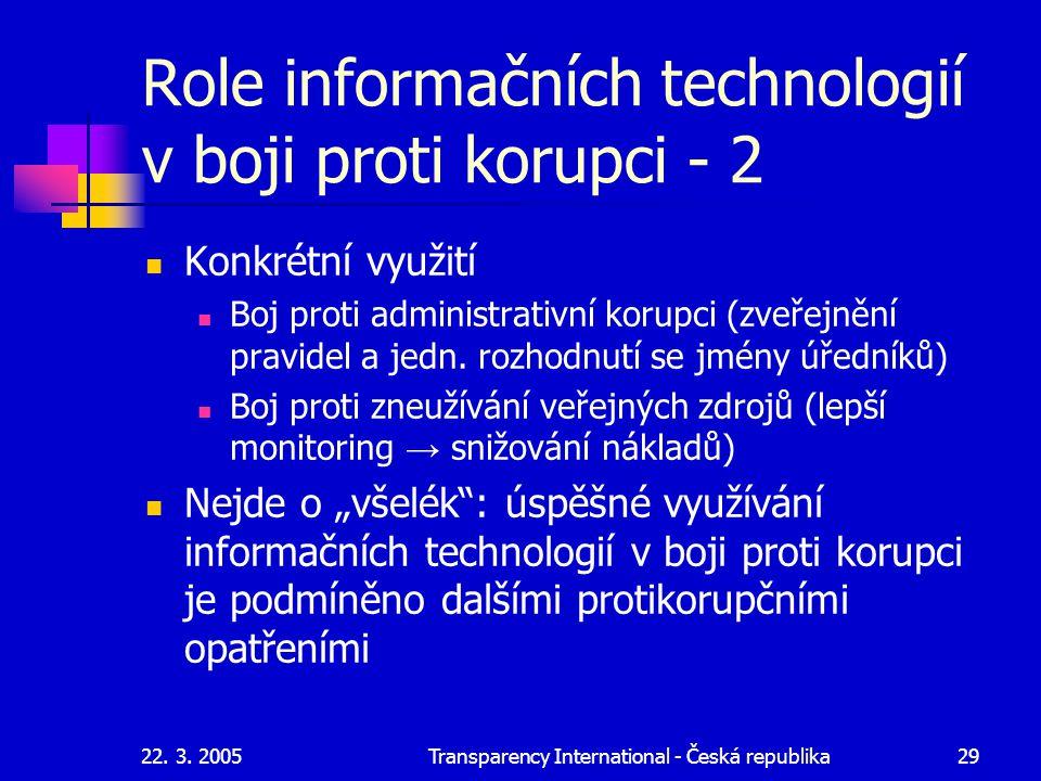 Role informačních technologií v boji proti korupci - 2