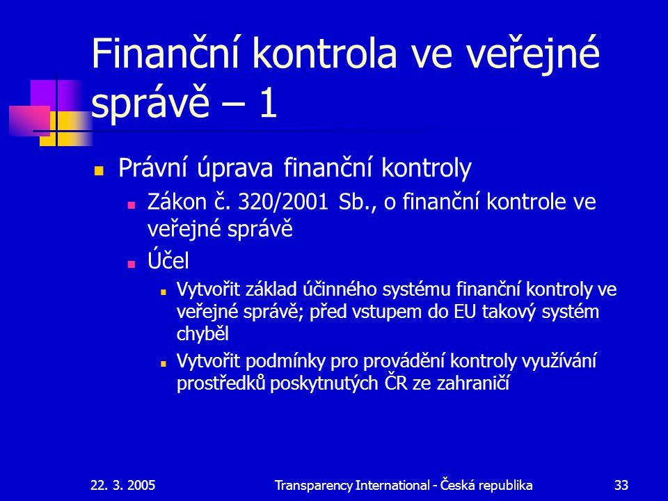 Finanční kontrola ve veřejné správě – 1