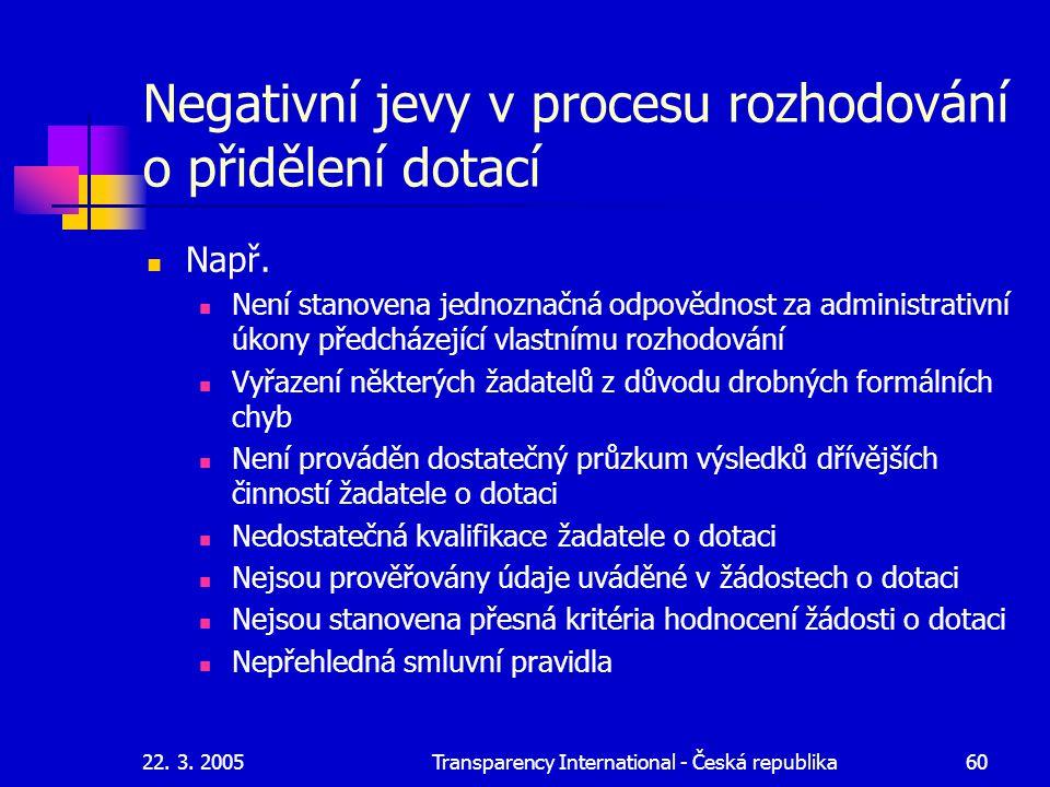Negativní jevy v procesu rozhodování o přidělení dotací