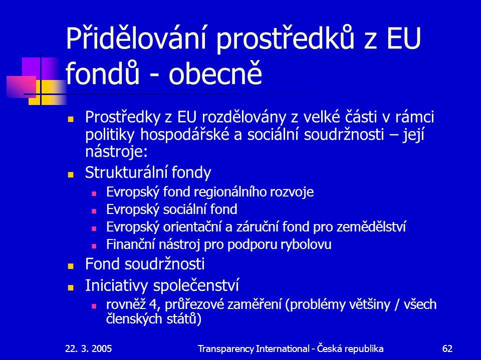 Přidělování prostředků z EU fondů - obecně