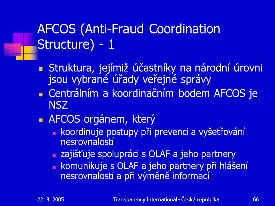 AFCOS (Anti-Fraud Coordination Structure) - 1
