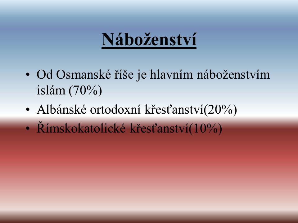 Náboženství Od Osmanské říše je hlavním náboženstvím islám (70%)