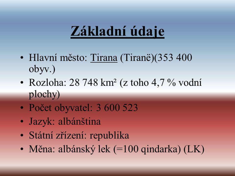 Základní údaje Hlavní město: Tirana (Tiranë)(353 400 obyv.)