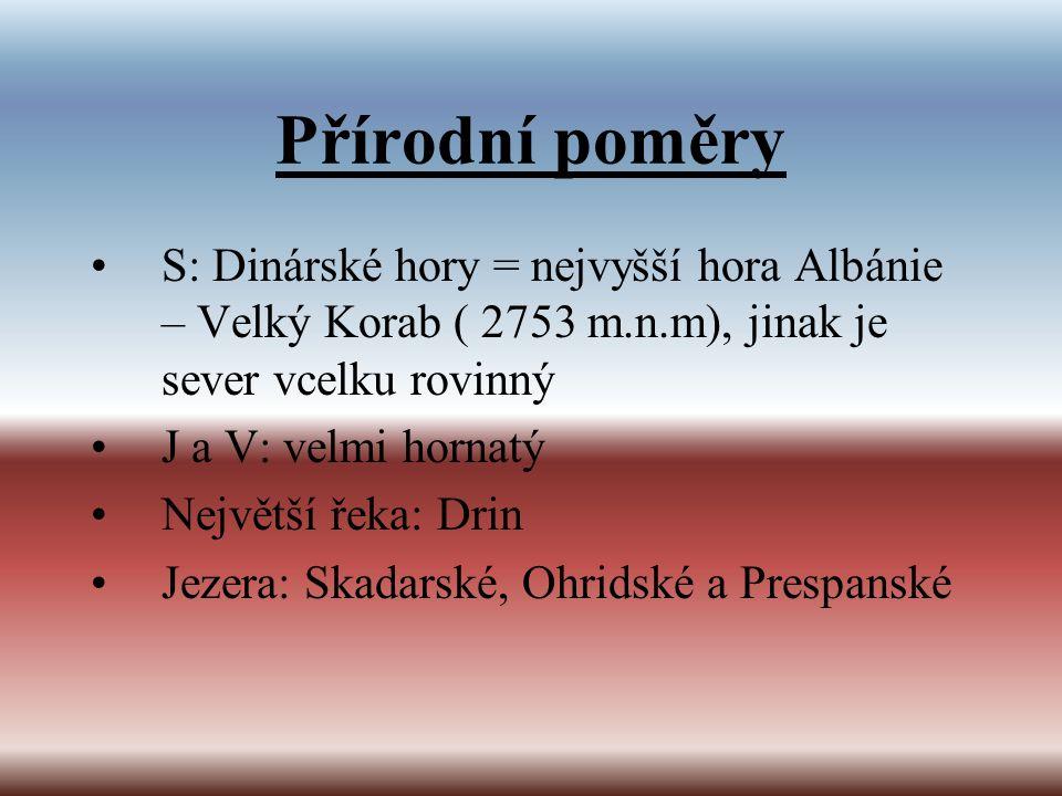 Přírodní poměry S: Dinárské hory = nejvyšší hora Albánie – Velký Korab ( 2753 m.n.m), jinak je sever vcelku rovinný.
