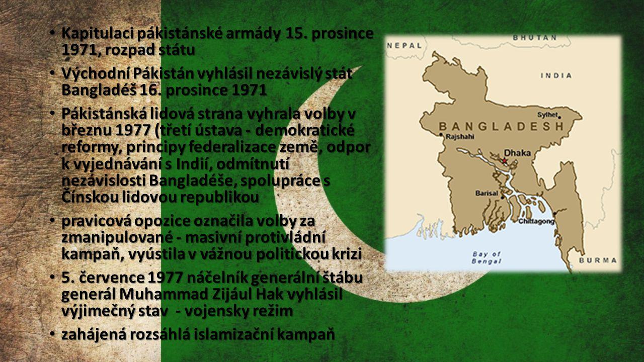 Kapitulaci pákistánské armády 15. prosince 1971, rozpad státu