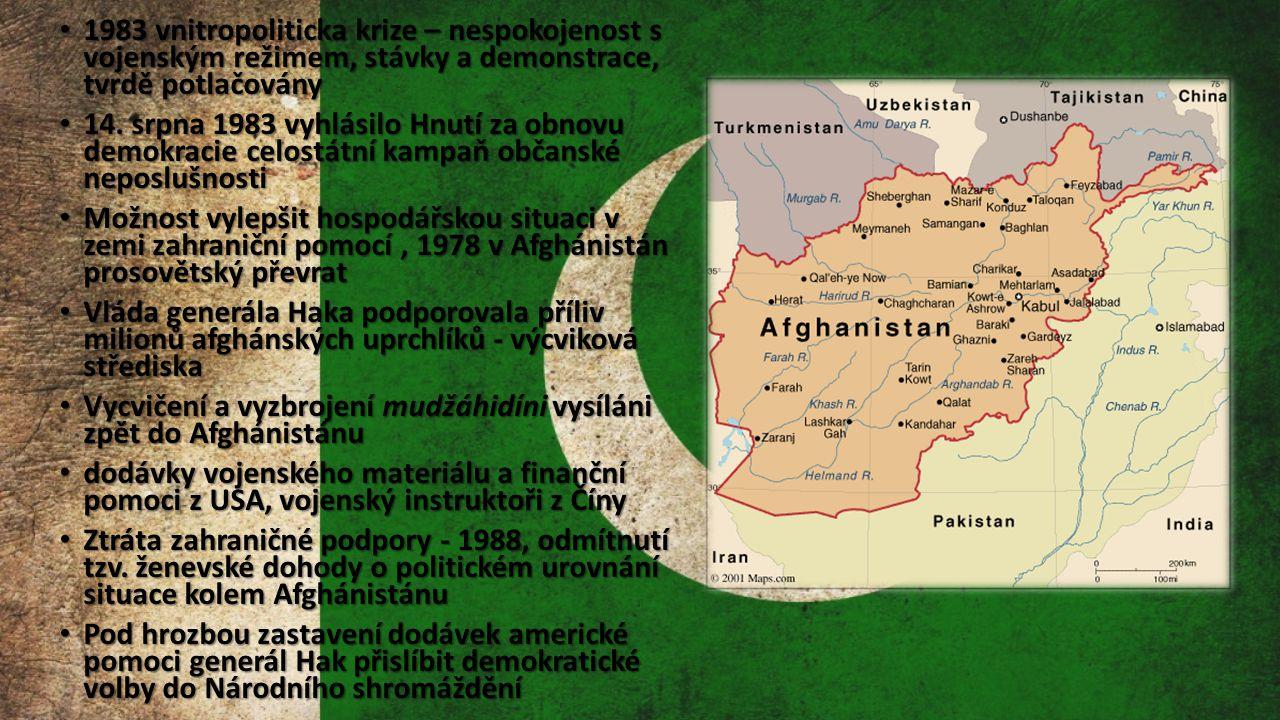 1983 vnitropoliticka krize – nespokojenost s vojenským režimem, stávky a demonstrace, tvrdě potlačovány