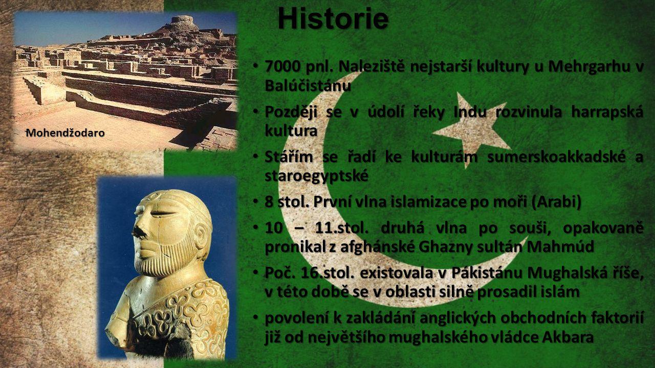 Historie 7000 pnl. Naleziště nejstarší kultury u Mehrgarhu v Balúčistánu. Později se v údolí řeky Indu rozvinula harrapská kultura.